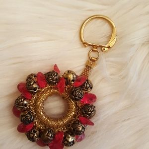 VINTAGE PINK GOLD BEADED KEYCHAIN